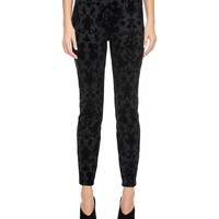 Pitch Black Cupid Scroll Flocked Scuba Legging by Juicy Couture,