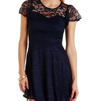 Blue Depths Flutter Sleeve Lace Skater Dress by Charlotte Russe