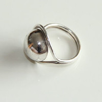 Sterling Silver Ball Statement Minimalist Ring, Sterling Silver