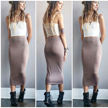 A Bodycon Pencil Skirt in Taupe