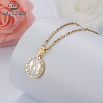 HOBBORN Trendy Mama Family Necklace Stainless Steel Silver Gold Color Shell Love Girl Boy Pendant Choker Necklaces Women Gift