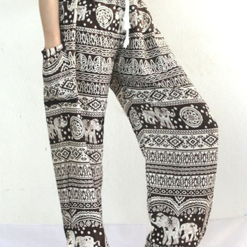 Elephant Pants Comfortable wear Teal Stamp Printed boho pants Harem pants/beach pants/Aladdin Pants/boho pants/Elephant Print design