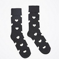 Happy Socks Heart Socks in Black and White - Urban Outfitters