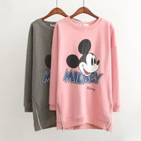 Mickey Mouse Print Side Zipper Sweater Dress
