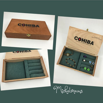 Cohiba Robusto Cigar Box Jewelry Box, Ring, Stud Earring & Cuff Link Holder, Ring, Cufflink and Jewelry Display by Michelaneous