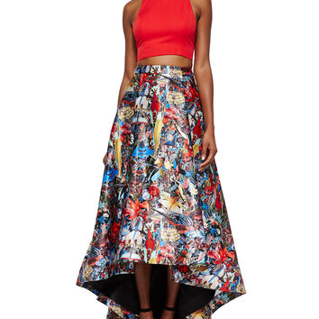 Blythe Sleeveless Crop Top & Floral-Print High-Low Skirt