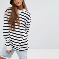 Obey Oversized High Neck T-Shirt In Breton Stripe at asos.com
