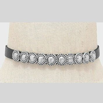 Metal Studded Boho Black Choker