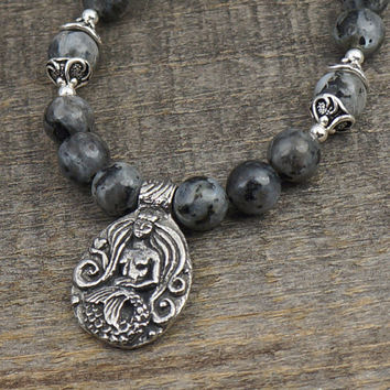 Mermaid necklace with crown and heart, black and grey Norwegian moonstone beads, 20 1 /2 inches long 52cm