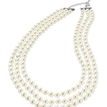 Nadri Three-Row Pearl Necklace