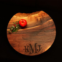 "Live Edge 17"" Round Walnut Personalized Cutting Board  *One of A Kind* w/Feet & Wood Butter Wedding Board Circle Board Anniversary"