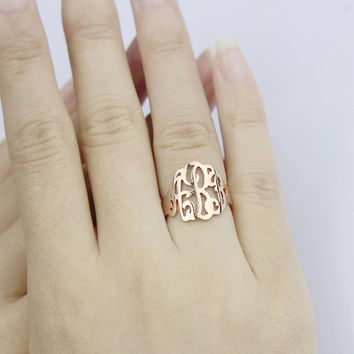 18K Rose Gold Plated Monogram Ring - Hand Painted Monogrammed Ring - Custom Initial Ring - Best Gift