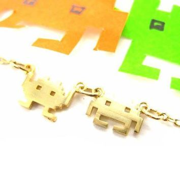 Atari Space Invaders Arcade Alien Pixel Charm Necklace in Gold