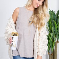 Ivory Rope Knit Chunky Cardigan