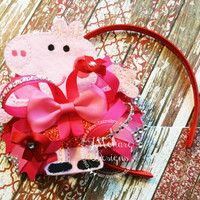 Red and Pink Feltie Peppa Pig Parts Stacked Bow with Rhinestones - Birthday Bow