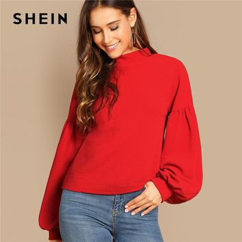 SHEIN Red Button Back Balloon Sleeve Top Stand Collar Solid Long Sleeve Highstreet Autumn Casual Christmas Women Tshirt Top