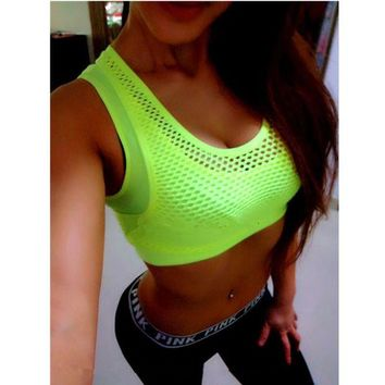 LMFEB2 Mermaid Curve Women Sports Bra Breathable Mesh Gym Wirefree Padded Shakeproof Underwear Push Up Seamless Fitness Top Bras