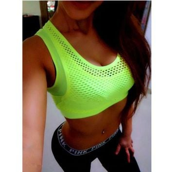 DCCKLO3 Mermaid Curve Women Sports Bra Breathable Mesh Gym Wirefree Padded Shakeproof Underwear Push Up Seamless Fitness Top Bras