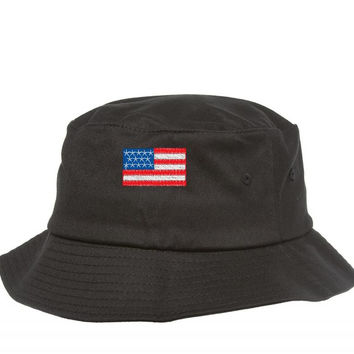 american flag embroidery Bucket Hat