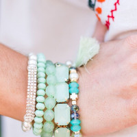 Jeweled Bracelet Set in Mint