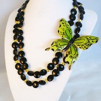 Lime Vintage Weiss Butterfly Upcycled Necklace with Onyx Gemstones