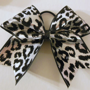 Silver Snow Leopard Large Cheer Bow Cheerleading