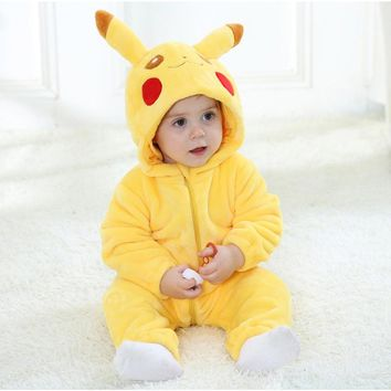 Hooded Baby Romper Infant Jumpsuit Toddler Onesuit for 0-3 Years Baby Boys Girls Pikachu Minion Kitty Cat Doraemon Baby Clothes