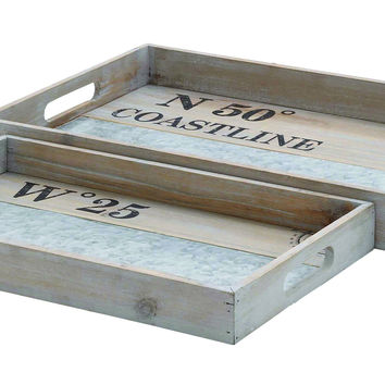 Spacious Rectangular Shaped Wooden Metal Tray (Set Of 2)