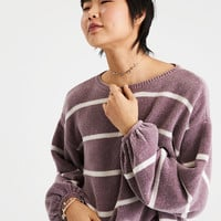 AE CHENILLE BALLOON SLEEVE PULLOVER, Purple