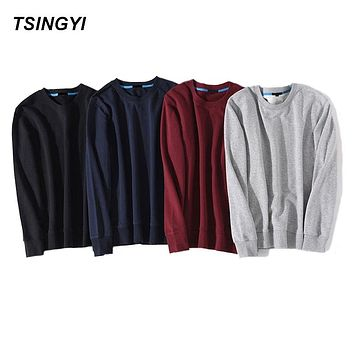 Tsingyi Hot Sale Solid Skateboard Hoodies Men Women Spring Autumn O-Neck Long Sleeve Cotton Sudadera Poleron Hombre Sweatshirt