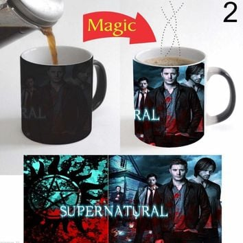 Supernatural Ceramic Coffee Color Change Mug (Color: Black)
