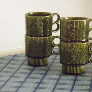 Coffee Cup Mug Set of 4 Stackable, Made in Japan Olive Green Flower Power Restaurantware Party Cups
