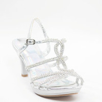 Wedding Shoes Silver Rhinestone - Beth (Style 450-4)