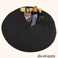 8 ft Bean Bag Chair Sack Black Micro Suede | Comfy Sack