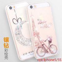"Fashion Luxury Flower Painted 3D Relief  For Apple iPhone5/5S "" Case  Flower Cell for iPhone 5S Case Cover Free shipping"
