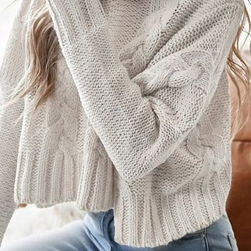 On The Slopes White Cable Chunky Knit Long Sleeve Pattern Turtleneck Crop Pullover Sweater