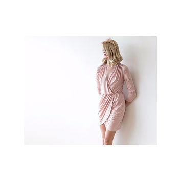 Pink long sleeves mini wrap dress 1035