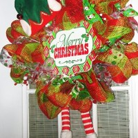 Large Merry Christmas Elf Wreath* Deco Mesh Wreath, Christmas Wreath with Elf Hat and Legs, Holiday Wreath, Decoration