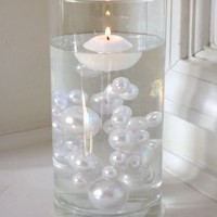 5 Packs VALUE OFFER - Vase Fillers Jumbo All White Pearls with Sparkling Diamonds and Gems Accents 80 Pc. Per Pack...The Transparent Water Gels that are floating the Pearls in some of the images are sold separately...