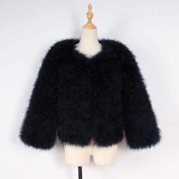 Women Faux Fur Ostrich Feather Soft Fur Coat Jacket Fluffy Winter Xmax