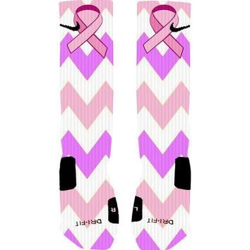 Custom Breast Cancer Awareness Ribbon Chevron Stripe Custom Nike Elite Socks or Adidas