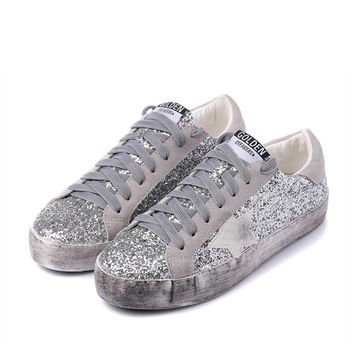 2017 New Woman Glitter Star Casual Shoe Flat Spring Korean Distressed Leather Silver G