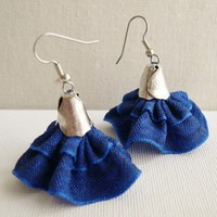 Spanish Dancer Dark Blue Earrings - Cobalt Blue Dangle Earrings - Fancy Dress earrings - Fiber art earrings