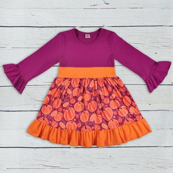 2018 Halloween Fashion New Children Long Sleeve Dress Pumpkin Pattern Cotton Baby Clothes Girls Boutique Dresses LYQ806-226