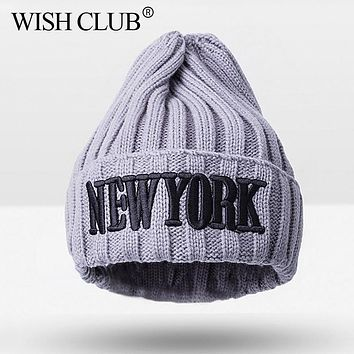 WISH CLUB Fashion Kids Beanies Cap For Girls Knitted Hat Toddler Warm Winter Cap For Girls Boys Baby Casual Letter Hats Cap