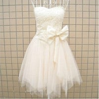 Sweatheart Ball Gown A-line mini party dress Cocktail prom Dresses With Beading Bowknot one size = 1958399492
