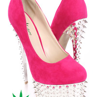 Hot Pink Spike Pump High Heels Faux Suede