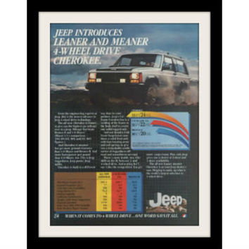 "1983 Jeep Cherokee Ad ""Meaner & Leaner"" Vintage Advertisement Print"