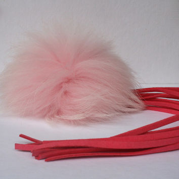 New bag tassel charm light pink Raccoon Fur Pom Pom bag pendant with pink tassel