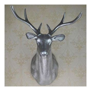 Large Size Plastic Deer Head Wall Hanging Decoration silver